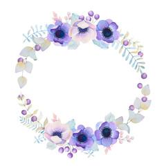 Watercolor wreath with purple anemones