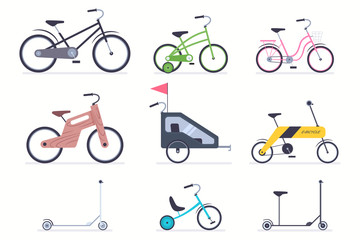 Kid bicycles, kick scooter, carts, electro and wood bike for boys and girls. Vector flat simple icons set isolated on a white background.