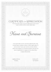 Certificate template. Frame for design diploma or gift certificate.
