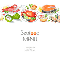 Seafood colored vector background menu kitchen dish