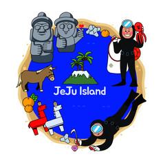 Beautiful attraction of Jeju Island in South Korea include Dol Ha reu bang