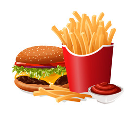 Fast Food French Fries and Burger