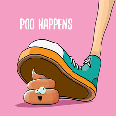 step on poo cartoon comic business situation. Business mistakes concept illustration.