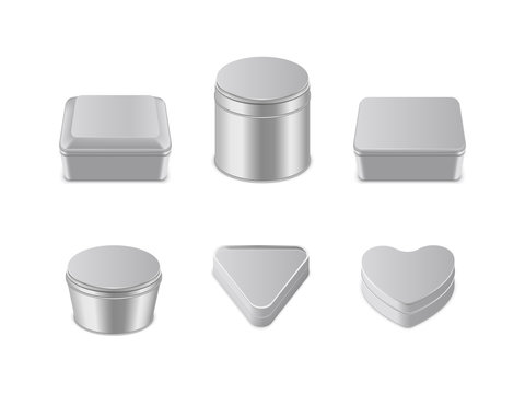 Metal box icon set vector realistic illustration