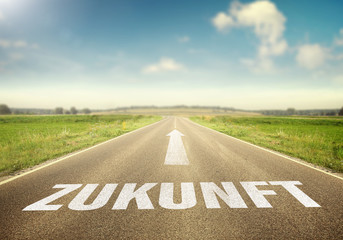 Straße mit dem Wort Zukunft