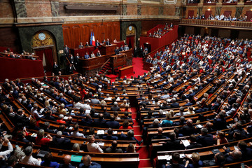 A general view shows the Versailles' hemicycle as French President Emmanuel Macron delivers a speech during a special congress gathering both the upper and lower houses of the French parliament in Versailles near Paris