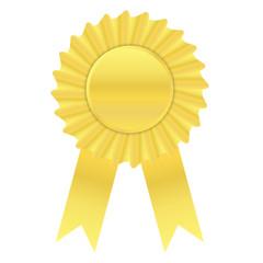 Gold color ribbon award banner on white background
