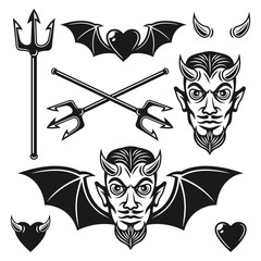 Devil black vector objects and design elements