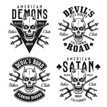 Biker club vector emblems with horned skull