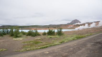 Aluminium Prints Blue Landschaft beim Mývatn Nature Bath / Kieselgurwerk in Nord-Island