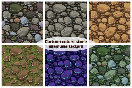 Big set View seamless background texture colors stones.