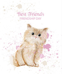 Watercolor cute kitty Friendship day card Vector