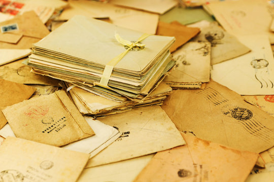 "Many old paper mail letters. Envelopes are stamped: ""Viewed by military censorship"""
