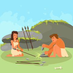 Stone age couple making spears vector illustration