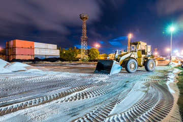 construction equipment on nightshift