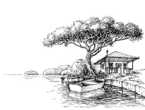 Lake or river bank drawing. Boat and a chalet on shore