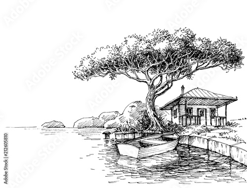 Lake or river bank drawing boat and a chalet on shore stock image lake or river bank drawing boat and a chalet on shore freerunsca Gallery