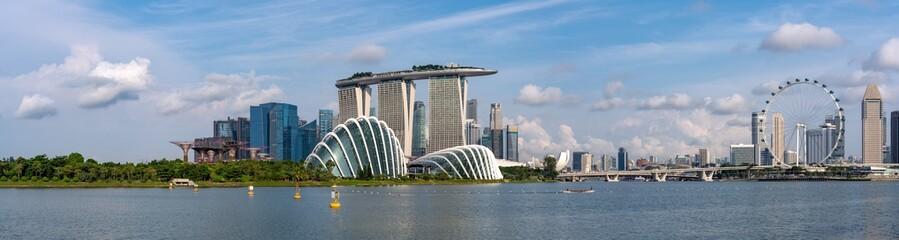 Aluminium Prints Singapore Super Wide panorama of Singapore Skyline with skyscrapers