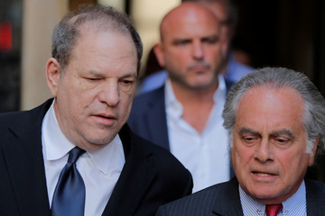 Film producer Harvey Weinstein leaves after his hearing at Manhattan Criminal Court