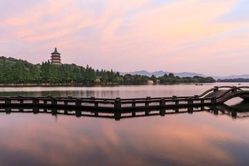 Beautiful Hangzhou West Lake landscape at sunset