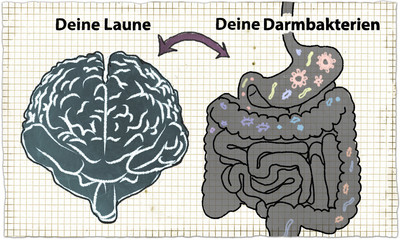 Illustration about Darmbakterien und Laune