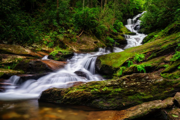 Roaring Fork Falls near the Blue Ridge Parkway in the North Carolina mountains