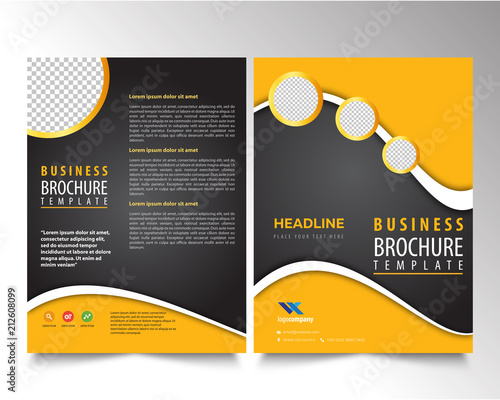 brochure template design yellow shapes on black background stock