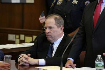 Film producer Harvey Weinstein sits inside Manhattan Criminal Court during an arraignment in the Manhattan borough of New York