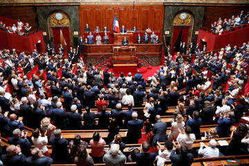 French President Emmanuel Macron delivers a speech during a special congress gathering both the upper and lower houses of the French parliament in Versailles near Paris