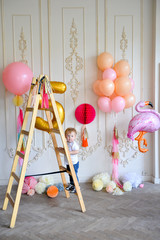 Decorations for holiday party. Birthday party decorations. A lot of balloons. Best decorations ideas.