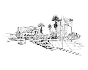 Medina Susa. Tunisia. North Africa. Hand drawn vector illustration.