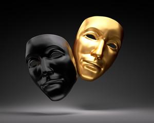 Schwarze und goldene Theatermaske