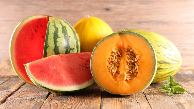 assorted melon and watermelon