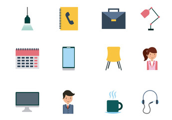 20 Colorful Office Icons