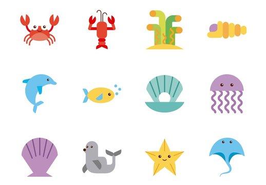 16 Colorful Sea Animals Icons