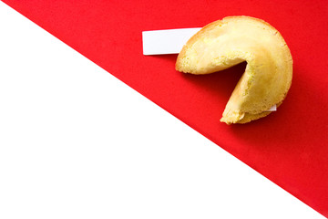 Fortune cookies on white and red background