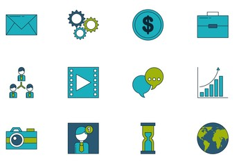 30 Colorful Communication and Technology Icons