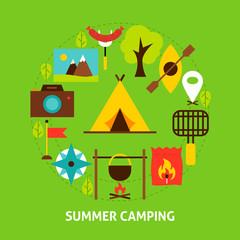 Summer Camping Postcard