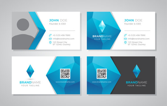 Modern geometric business card with photo