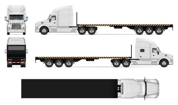 Flatbed truck realistic vector illustration