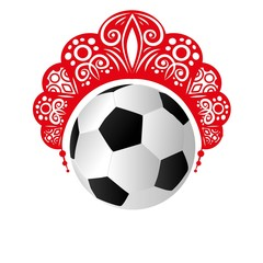 Kokoshnik head women's folk dress worn on a football