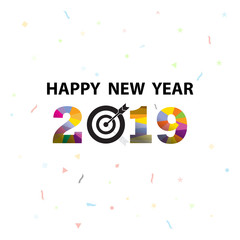 Happy New Year 2019 background.Colorful greeting card design.Vector illustration for holiday design. Party poster, greeting card, banner or invitation template.