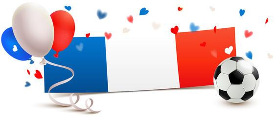 Frankreich Fußball Banner Flagge mit Luftballons und Herz Konfetti