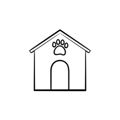 Doghouse hand drawn outline doodle icon. Doghouse with footprint as pet house and care concept. Vector sketch illustration for print, web, mobile and infographics on white background