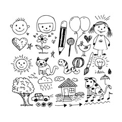 Children hand draw doodle icon