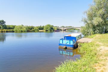 Boating at Gunthorpe Bridge on the River Trent in Nottinghamshire