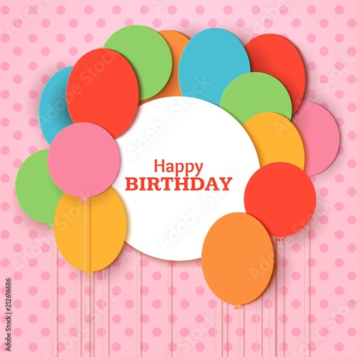 Happy Birthday Greeting Card Template With White Round Frame Flying Paper Cut Balloons On Pink