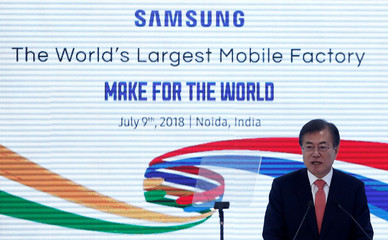 South Korea's President Moon Jae-in speaks during the inauguration of the Samsung Electronics smartphone manufacturing facility in Noida