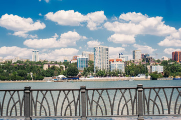 view of the embankment in Rostov-on-don. white clouds, blue sky, beautiful view
