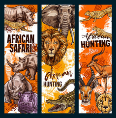 Vector African safari hunt animals banners
